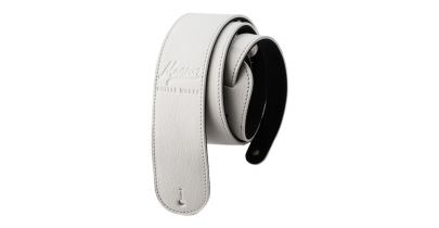 Manson Premium Leather Guitar Strap White on White